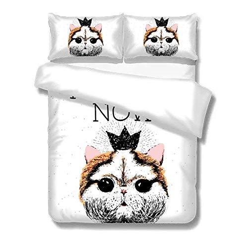 Set Copripiumino Cat Day You May Feed Me Now 3 Pezzi Ultra Morbido e di Facile Manutenzione Set di Biancheria da Letto Stile Semplice Cura Facile Anti-allergico Morbido Liscio