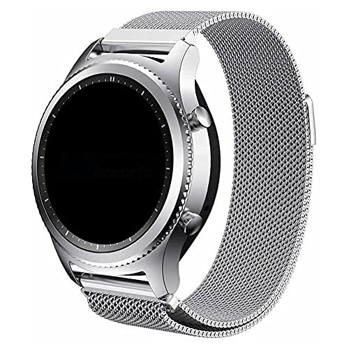 Pulseira 22mm Magnética Milanese compatível com Samsung Galaxy Watch 3 45mm - Galaxy Watch 46mm - Gear S3 Frontier - Amazfit GTR 47mm - Marca Ltimports (Prata)