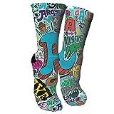 ULQUIEOR Women's Alphabet Animal Graffiti Pattern Cotton Comfort Moisture Wicking Extra Heavy Cushion Athletic Crew Socks
