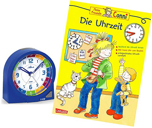 Atlanta Kinderwecker Ohne Ticken Jungen Blau mit Lernbuch Conni Buch Uhrzeit Lernen - 1937-5 BU