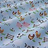 Nortex Mill Blue Polycotton Fabric with Farmyard Animals (Per Metre)