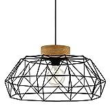 EGLO Padstow - Lámpara de techo colgante, 1 foco, vintage, industrial, retro, de acero y madera en negro, natural, para mesa de comedor, salón, con casquillo E27