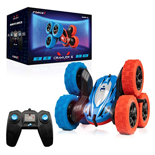 Force1 Crawler 6 Remote Control Car for Kids - 6-Wheeled RC Car, Double Sided Durable LED RC Stunt Car, 360 Flips, All Terrain RC Crawler, 2.4 GHZ Remote Control, USB Cord, Rechargeable, Red/Blue