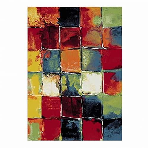 Sala de estar alfombra Resumen colorido cuadrado patrón alfombras para sala de estar decoración del hogar sofá mesa silla alfombra antideslizante piso Mat