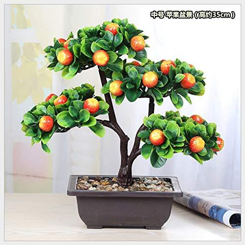 LXFLY Simulación de Frutas en Maceta Verde plástico Flor Falsa árbol Rico Bonsai Manzana Naranja melocotón melocotón salón decoración Media Manzana Bonsai Altura Cerca de 35 cm