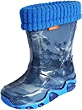 Demar Kids Boys Girls Wellies Rain Boots Warm Fleece-Lined