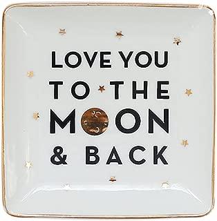 SOCOSY Love You to The Moon and Back Ceramic Ring Dish Jewelry Dish Trinket Tray Dish Holder Wedding Birthday Valentine Gift