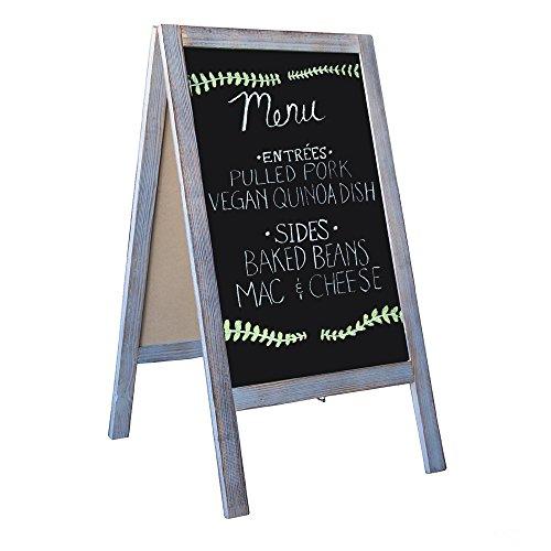 Wooden A-Frame Sign with Eraser & Chalk - 40 x 20 Inches Magnetic Sidewalk Chalkboard – Sturdy Freestanding Grey Sandwich Board Menu Display for Restaurant, Business or Wedding