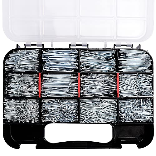 HongWay 1500pcs Hardware Nails Assortment Kit, Galvanized Nail, Assorted 12 Size Wire and Brad Nails