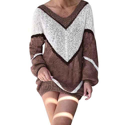 Calvinbi Elegant Pulloverkleid Damen Strickkleid mit V Ausschnitt Kontrastfarbe Longpulli Pullikleid Tunika Kleid Langarm Minikleid Lose Oversize...