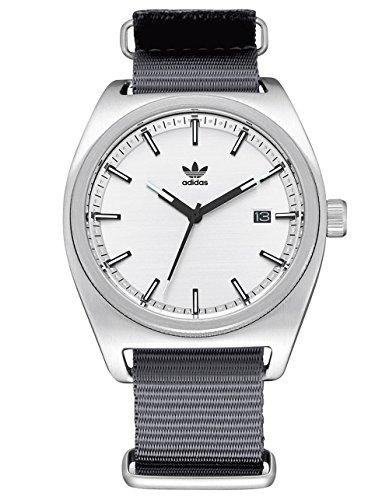 adidas Watches Process_W2. NATO Nylon Strap, 20mm Width (40 mm) - Silver/Black/Gray