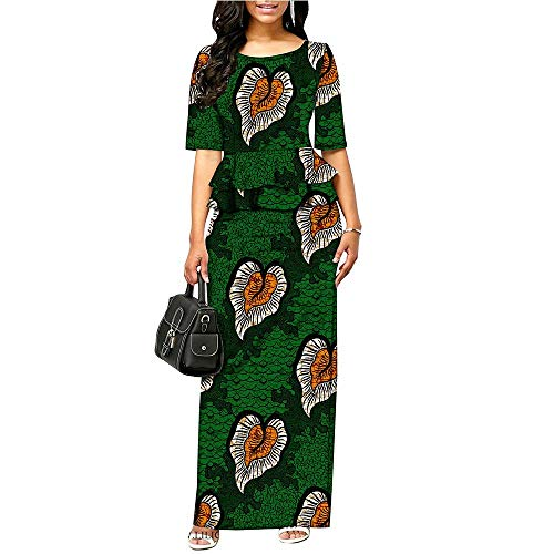 Womens Dresses African Ankara Print Plus Size Long Pencil Midi Dress Formal Party Cocktail Dashiki 528 L