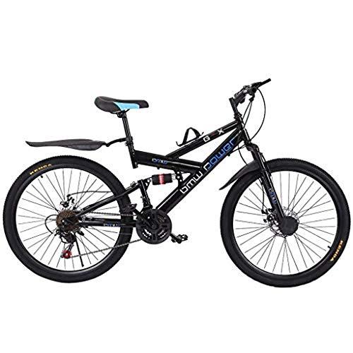 Adult Mountain Bikes, 26in Carbon Steel Mountain Bike,21 Speed Bicycle Full Suspension MTB,Gears Dual Disc Brakes, Men And Women Bike,Black