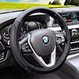 Magnelex Microfiber Leather Steering Wheel Cover – Black. Heat Resistant Anti-Slip Car W...