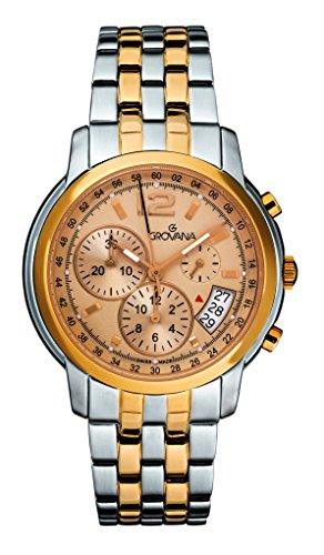 GROVANA 1581,9141-Orologio da uomo al quarzo con Display con cronografo e braccialetto in acciaio INOX Two tone 1581,9141