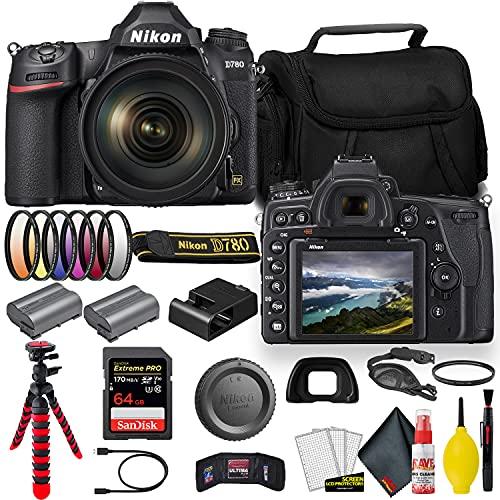Nikon D780 24.5 MP Full Frame DSLR Camera with 24-120mm Lens (1619) - Bundle - + Sandisk Extreme Pro 64GB Card + Additional ENEL15 Battery + Nikon Case + Cleaning Set + Filter Sets + More (Renewed)