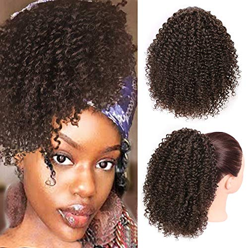 Vigorous Afro Drawstring Ponytail Afro Puffs Kinky Curly Ponytail Synthetic Clip in Hair Extensions for African Americans Natural Hair Curly Ponytail for Women(4#)