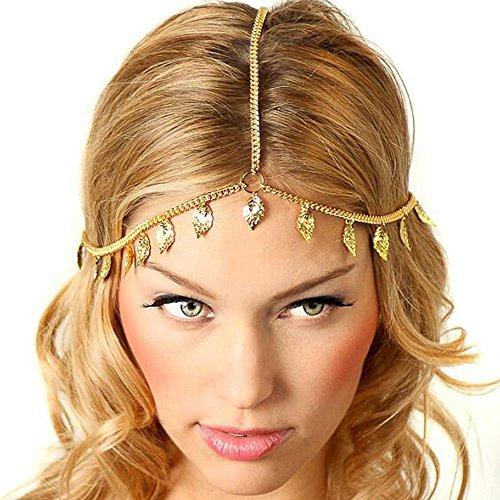 Chaîne pour cheveux en métal avec des strass pour femme