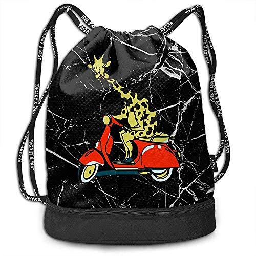 Valender Giraffe auf einem Motorroller Rucksack Kordelzug Running Sports Gym Bag