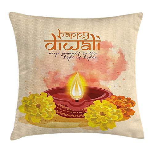 wwoman Diwali Dekokissenbezug, Happy Diwali, festliches Zitat mit Cartoon wie abstraktes Bild und Blumen, dekorativ, quadratisch, 45 x 45 cm, Rosa und Gelb