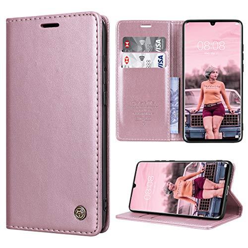 RuiPower Handyhülle für Huawei P30 Pro Hülle Premium Leder PU Flip Magnet Wallet Klapphülle Silikon Bumper Schutzhülle für Huawei P30 Pro/Huawei P30 Pro New Edition Tasche - Rose Gold
