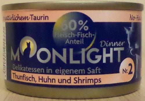 12x80g Moonlight Dinner Katzenfutter Dosen Nassfutter (Nr.2 Thunfisch Huhn und Shrimps)