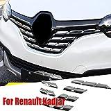 para Renault Kadjar 2015 2016 2017 2018 Embellecedor para parrilla delantera central de plástico ABS cromado 7 piezas