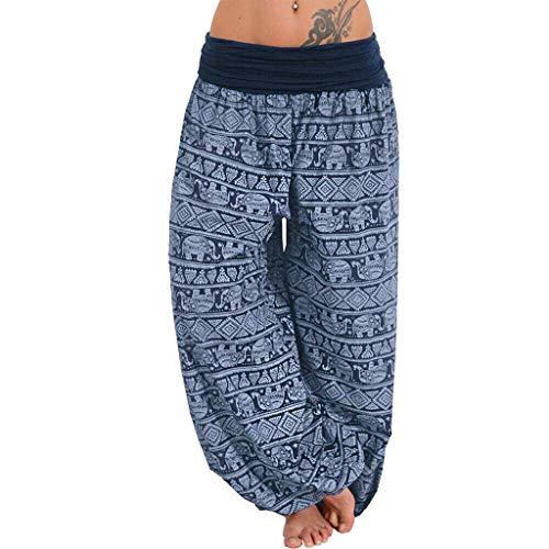 Wtouhe Femme Pantalons,2021 Printemps éTé Automne Pantalon DéContractéE Yoga Pantalons pour Femmes, Casual Sarouel Style Imprimé All Over Pantalons Occasionnels Confortable Plage en Vrac Pants