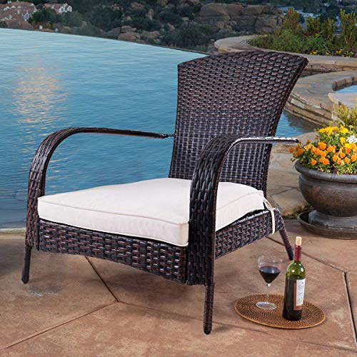 Adirondack Outdoor Rattan Patio Porch Deck All Weather Furniture with Beige Seat Wicker Chair (Small Cushion) - TANGKULA Lounger Chaise