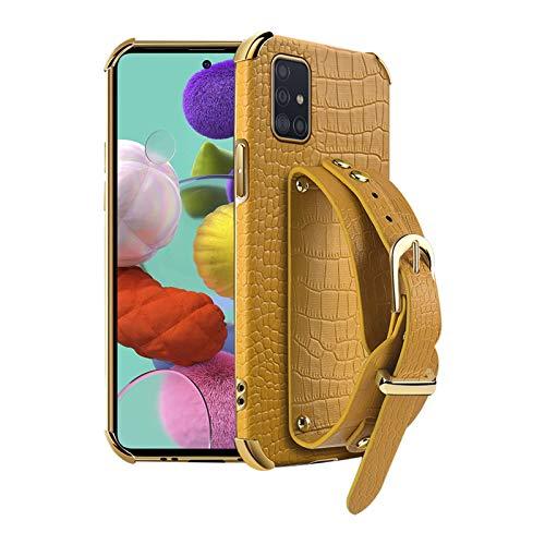 EuCase Funda de Cuero Suave para Samsung Galaxy S21 Ultra, Carcasa de Silicona Ultrafina para Samsung Galaxy S21 Ultra Antigolpes con Pulsera - Amarillo