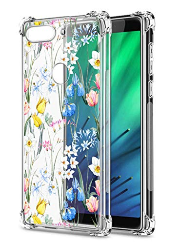 Oihxse Transparent Coque pour Sony Xperia 10 Souple TPU Silicone Protection Etui Air Cushion [Shock-Absorption] [Anti-Rayures] Fleurs Motif Housse Bumper (B11)