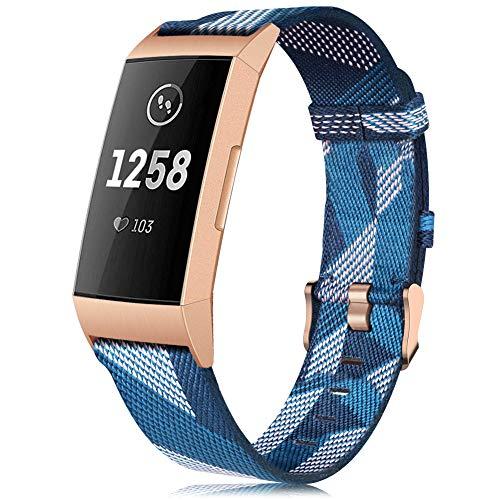 Onedream Strap Kompatible Für Fitbit Charge 4 Armband/Charge 3 Armbänder, Blau Weiß Stoff Textil Sport Band Damen Herren Ersatzarmband (Kein Uhr)