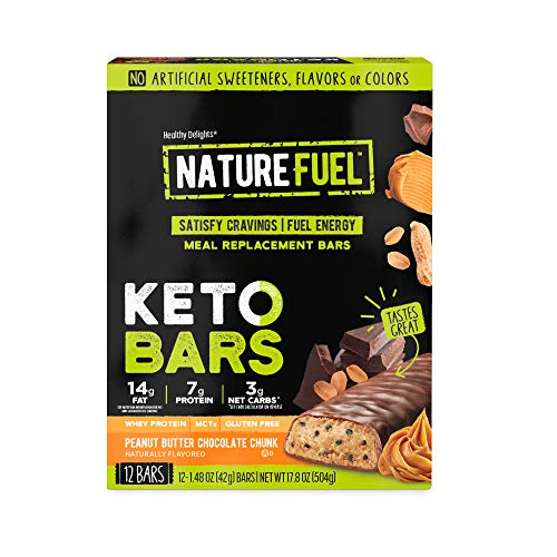 Nature Fuel Keto Meal Replacement Bar  Gluten Free  with Whey Protein amp MCTs  Peanut Butter Chocolate Chunk  12 Count