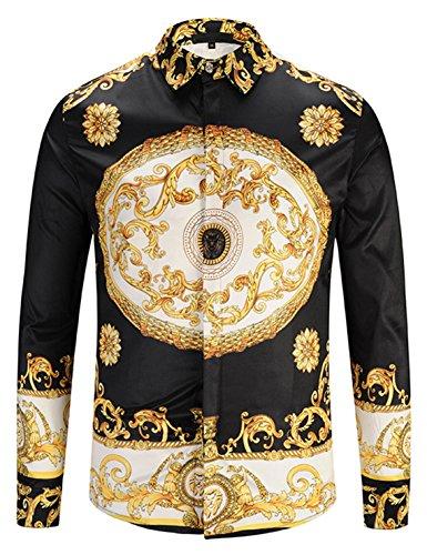 Pizoff, camicia da uomo a maniche lunghe con motivo barocco dorato Y1792-30. S