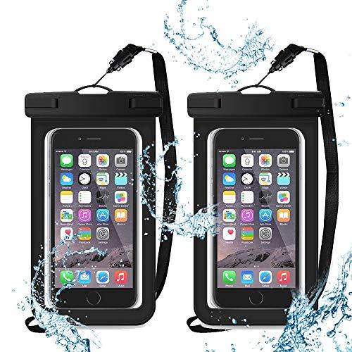 XEMZ - Funda impermeable universal para teléfono móvil con cordón, TPU suave, bolsa seca para teléfono celular, sellado bajo el agua, para juegos de agua (2 negro)