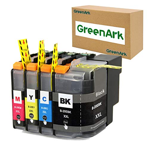 GreenArk Compatible Ink Cartridge Replacement for Brother LC20E XXL Super High Yield Ink Work for Brother MFC-J775DW XL MFC-J985DW MFC-J5920DW Printer (1x LC20EBK 1x LC20EC 1x LC20EM 1x LC20EY XXL)