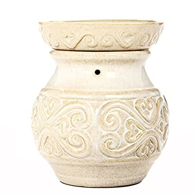 Hosley 6  High Cream Ceramic Electric Candle Warmer. Ideal Gift for Wedding, Spa and Aromatherapy. Use Brand Wax Melts/Cubes, Essential Oils and Fragrance Oils. O4