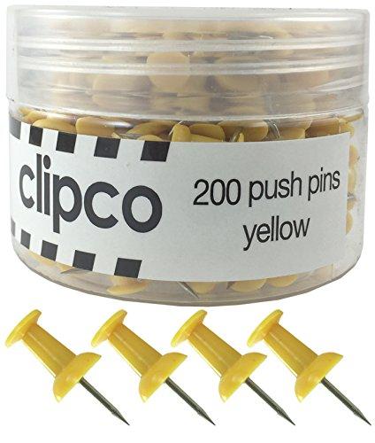 Clipco Push Pins Jar (200-Count) (Yellow)