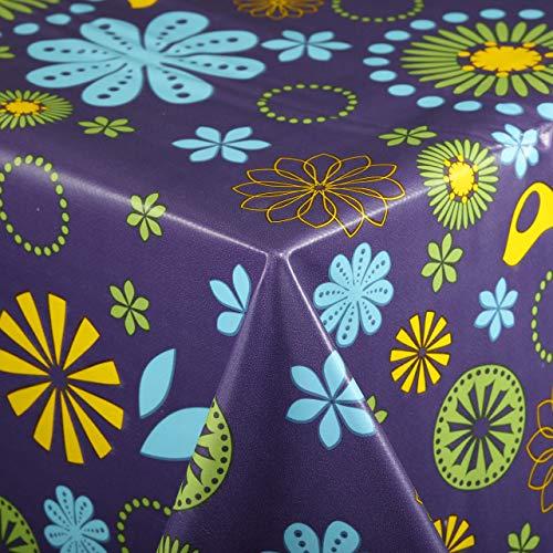 Vinylla - Mantel de PVC, fácil de limpiar, diseño floral, color morado, pvc, Morado, 140 x 140 cm