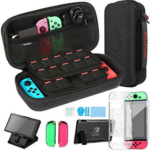 Kit Accessori 4 in 1 per Nintendo Switch, Include Vendfine custodia trasporto per Nintend Switch / Cover Protettiva Trasparente / Film protettivo temperato / Supporto regolabile(Nero)