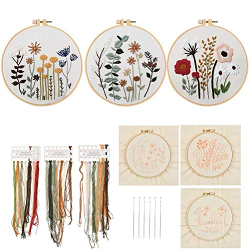 kits de iniciación de bordado de aguja de perforación incluyen instrucciones,tela de aguja de punzón con patrón floral,hilos,aros de bordado,herramientas de enhebrador para perforar aguja de bordar