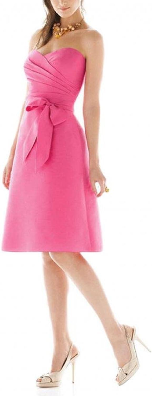 Dearta Women's ALine Sweetheart KneeLength Satin Bridesmaid Dresses