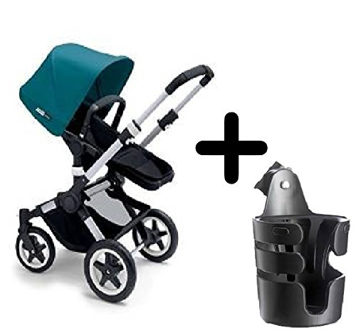Find Discount Bugaboo 2015 Buffalo Stroller Complete Set in Aluminum/Petrol Blue Canvas Fabric Set +...