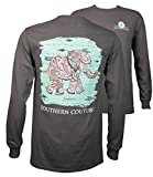 Southern Couture SC Classic Paisley The Elephant on Longsleeve Womens Classic Fit T-Shirt - Charcoal, Large