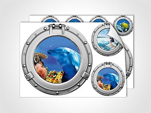 GRAZDesign Wandtattoo Bad Badezimmer WC, Wandsticker Fliesensticker maritim Bullauge Set, Maritime Dekoration Fliesentattoos Unterwasserwelt/DIN A4 (2Stück)
