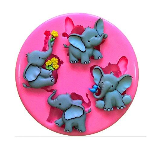 Cute elefante Elefun Nelly tronco Molde de silicona para la torta de Decoración Pastel de Cupcake Toppers Glaseado Sugarcraft Tool por Fairie Blessings