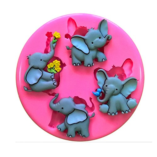 Cute Elephant Elefun Nelly Trunk Silicone Mould Mold for Cake Decorating Cake Cupcake Toppers Icing Sugarcraft Tool by Fairie Blessings