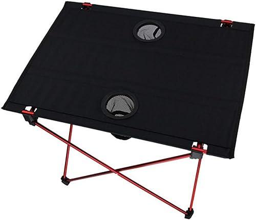 YFH Table Pliante légère avec Porte-gobelets Sac de RangeHommest portable for Table de Camp for l'extérieur (Couleur  comme indiqué) (Couleur   Noir)