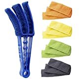 Hiware Window Blind Cleaner Duster Brush with 5 Microfiber Sleeves - Blind Cleaner Tools for Window Shutters Blind Air Conditioner Jalousie Dust