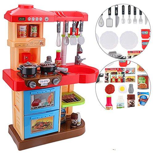 Jouets FEI Ensemble de jeu de cuisine pour tout-petits My Little Chef avec 35 accessoires Jeu de rôle en rose ROUGE Début Éducation (Couleur : Rouge)